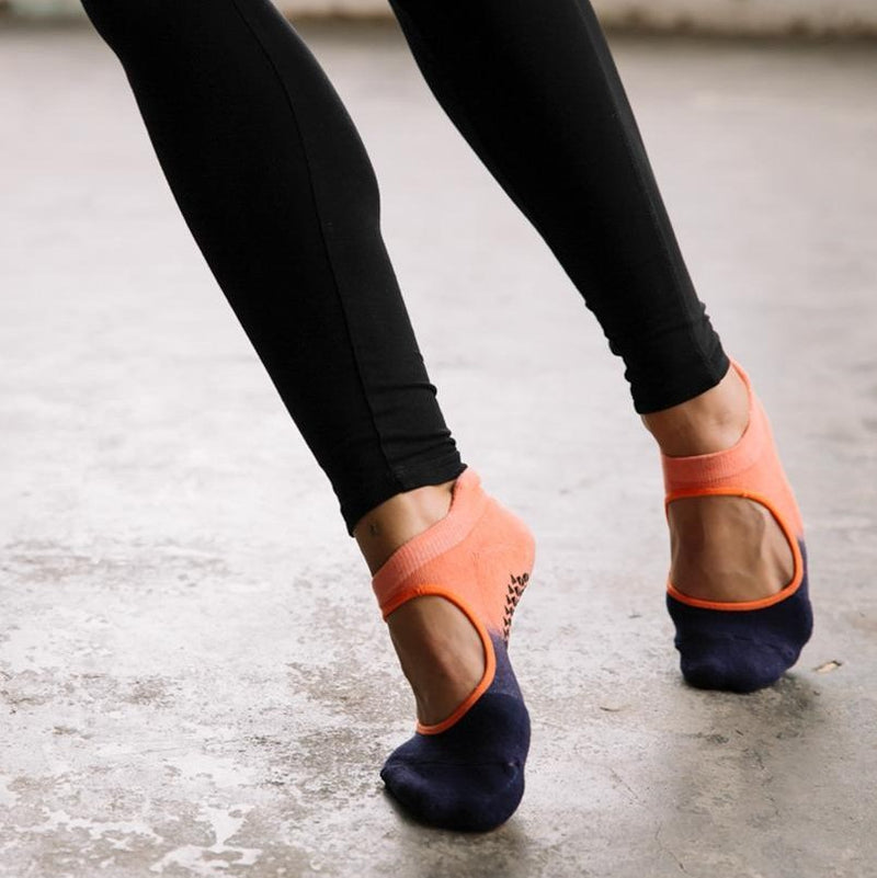 Pointe Studio Nina Grip Sock Coral Navy