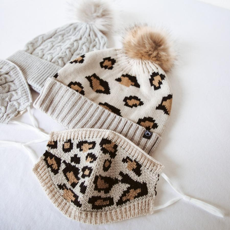 pretty simple beanie mask leopard set