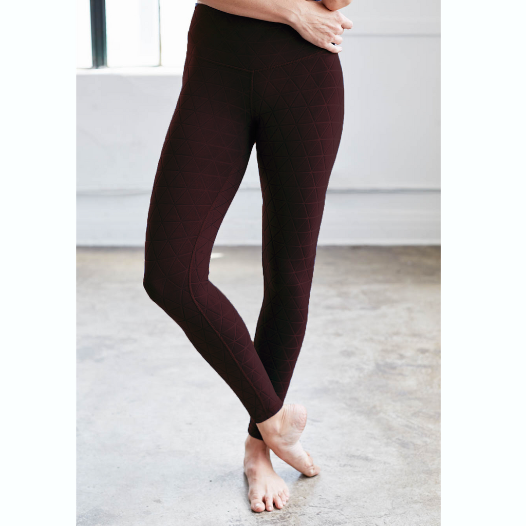 Quilted Pocket Leggings - Burgundy