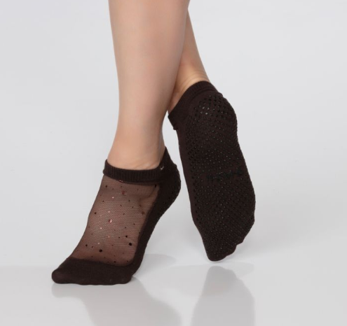 Shashi Star Sparkle Mesh Grip Sock Black Coffee with Copper