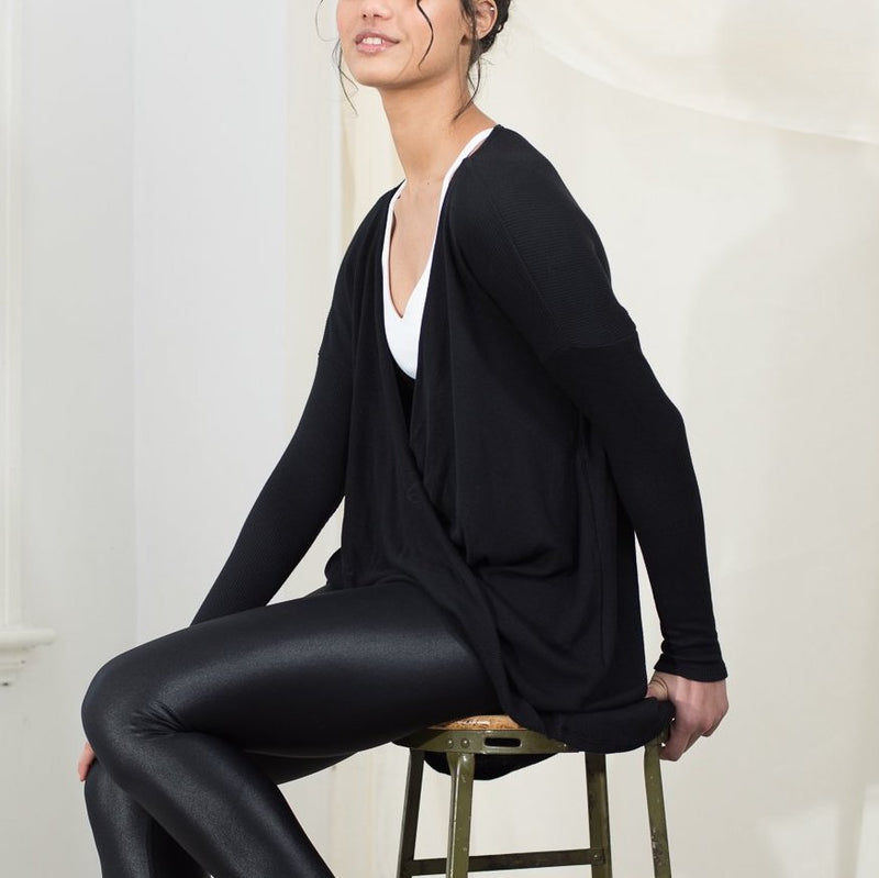 DYI twist about long sleeve top black