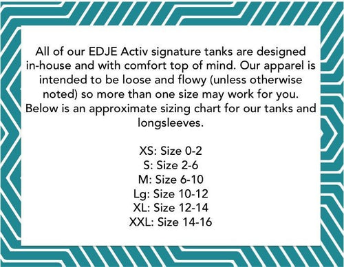 size chart strength and grace tank top in gray by EDJE ACTIV