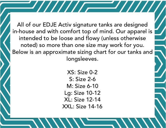lifted and tight black tank top EDJE ACTIV size chart