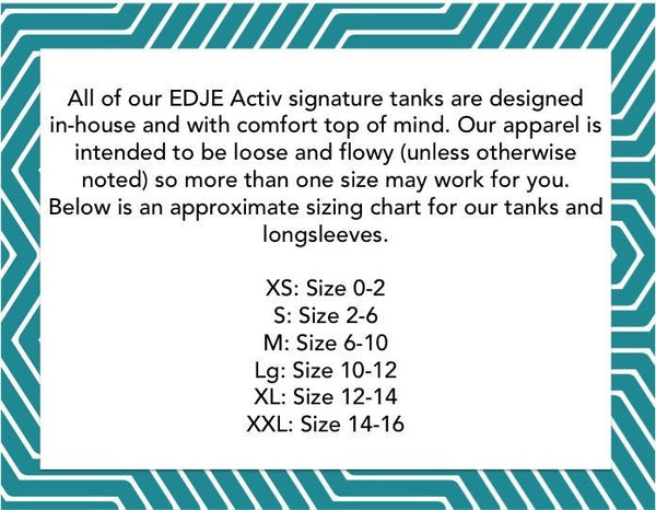size chart tuck tribe workout tank for barre girls by EDJE Activ