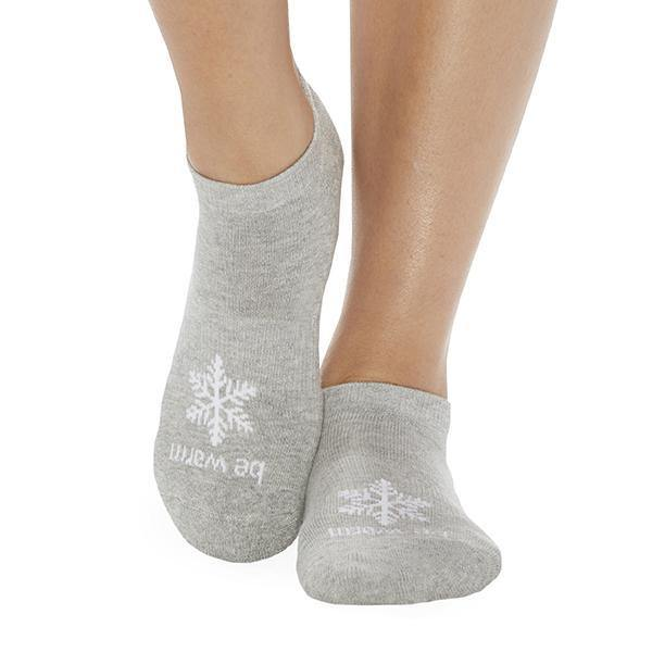Sticky Be Be Warm Grip Socks Gray Snowflake