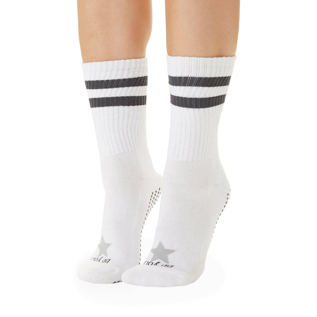 Sticky Be Be You White Charcoal Star CREW Grip Socks