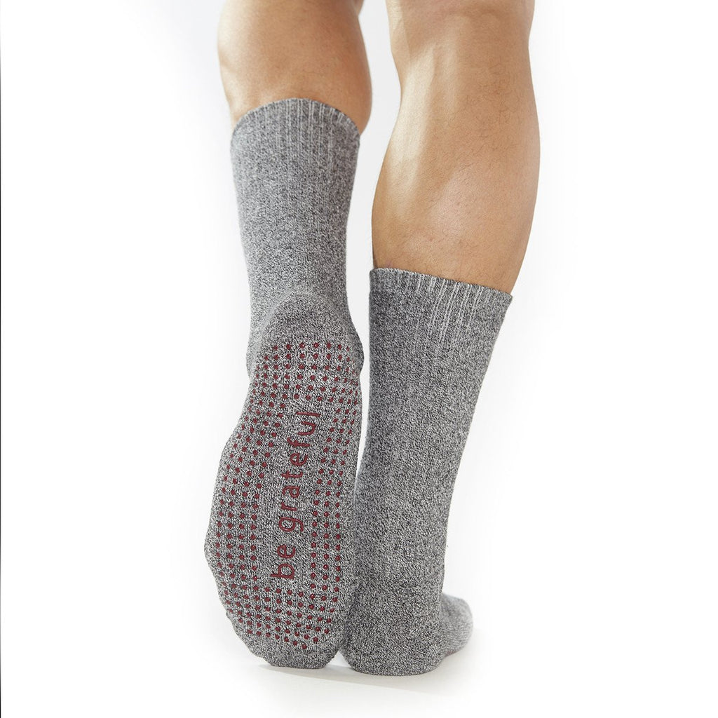 Sticky Be Mens Be Grateful - Granite Burgundy Crew Grip Socks