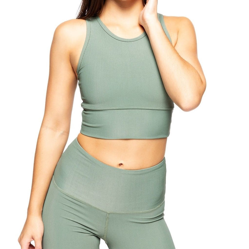 Strut This Piper Bra in Sage Rib