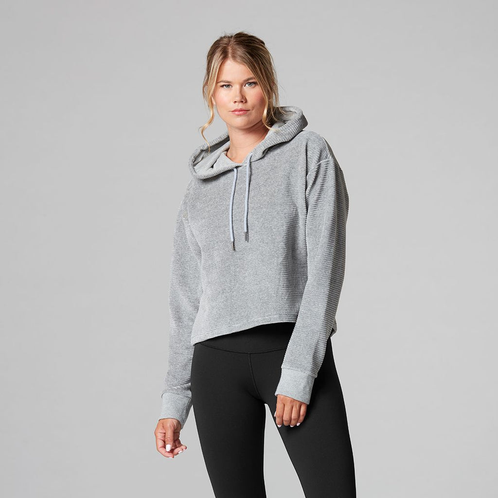 Tavi Noir Semi Cropped Hoodie - Heather Grey Velvet