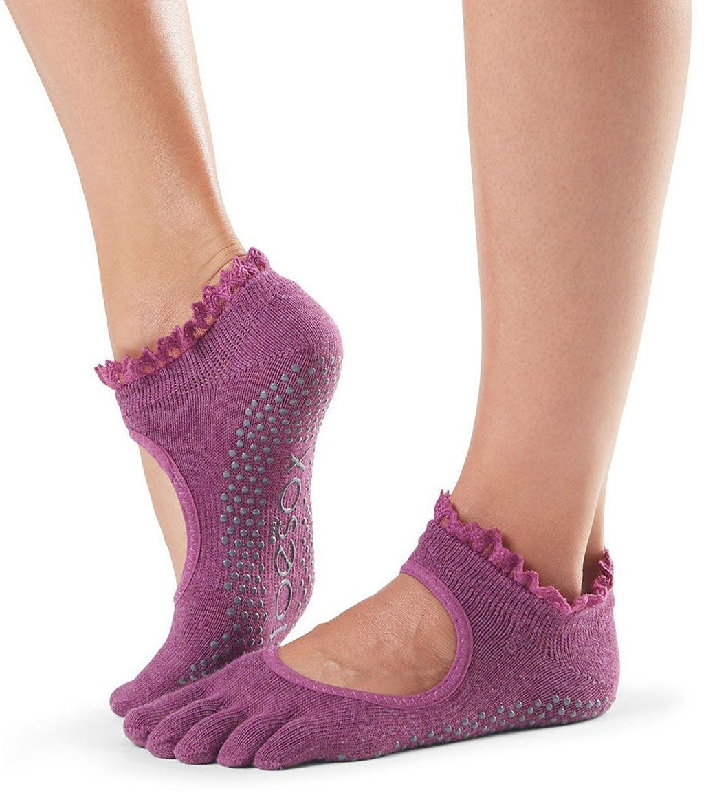 ToeSox Bella Wine Lace Full Toe Grip Sock