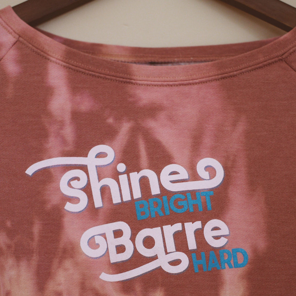 Wreath and Robe Shine Bright Barre Hard Raw Edge Sweatshirt - Dusty Rose