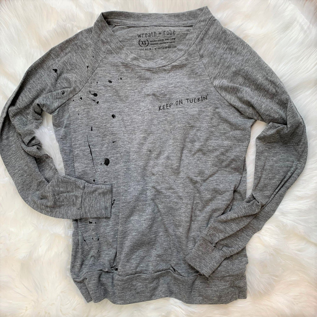 Wreath + Robe Keep On Tuckin' Pullover - Grey Black