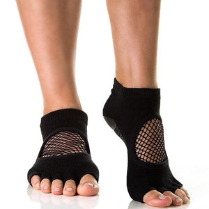 Arebesk Fishnet Open Toe Grip Socks - Black (Barre / Pilates)
