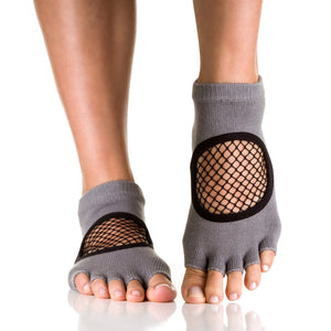 Arebesk Fishnet Open Toe Grip Socks - Gray (Barre / Pilates)