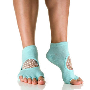Arebesk Fishnet Open Toe Grip Socks - Teal (Barre / Pilates)