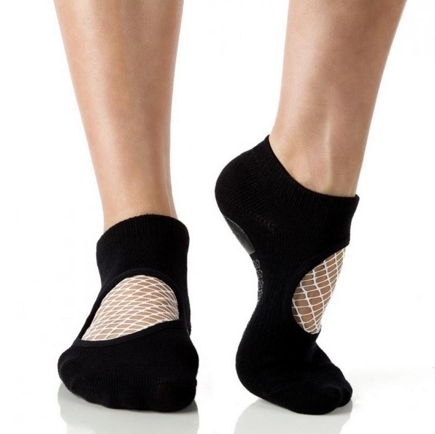 Arebesk Fishnet Grip Socks - Black White (Barre / Pilates)