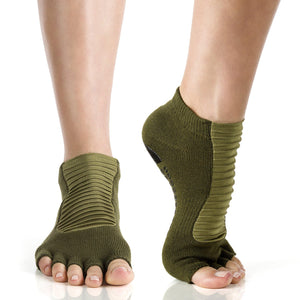 Arebesk Moto Open Toe Grip Socks - Army (Barre / Pilates)