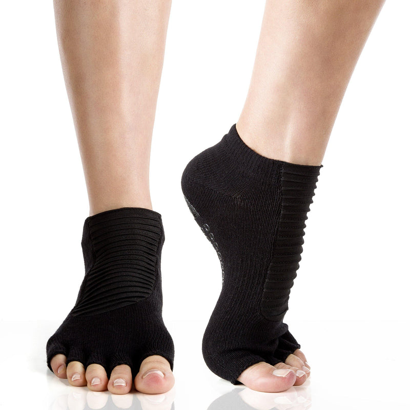 Arebesk Moto Open Toe Grip Socks - Black (Barre / Pilates)
