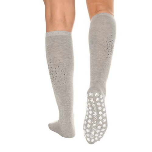 Baby It's Cold Outside - Rhinestone Calf High Grip Socks (Barre / Pilates)