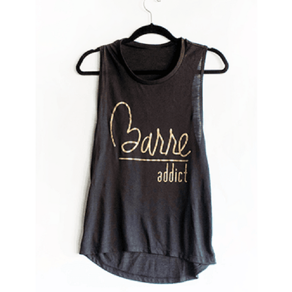 barre addict ejde active black tank top