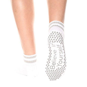 barresocks Believe in Yourself - White Crew Grip Socks