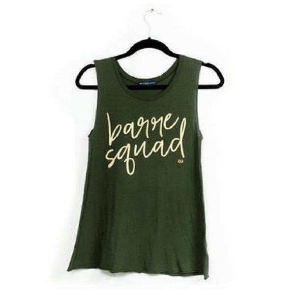 barre squad tank top in military green by edje active