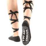 You Are Enough Lace Up Grip Socks (Barre / Pilates)