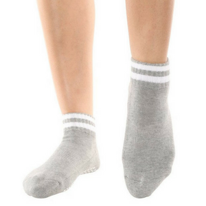 Barre Socks Basically a Ballerina Crew Ankle Gray
