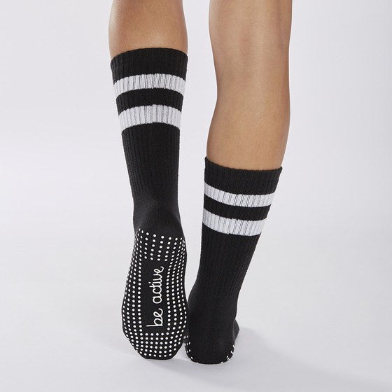 Crew Grip Socks - Black (Barre / Pilates) - Sticky Be