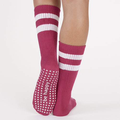 Crew Grip Socks - Be Happy - Sangria (Barre / Pilates) - Sticky Be