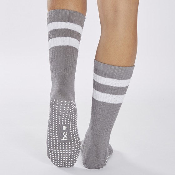Crew Grip Socks - Gray (Barre / Pilates) - Sticky Be