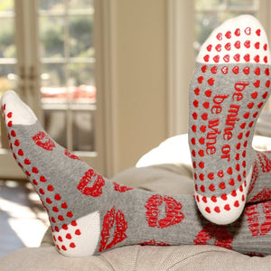 Be Mine or Be Wine Crew Grip Socks (Barre / Pilates)