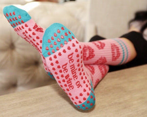 Be Mine or Be Wine Grip Socks (Barre / Pilates) - BarreSocks.