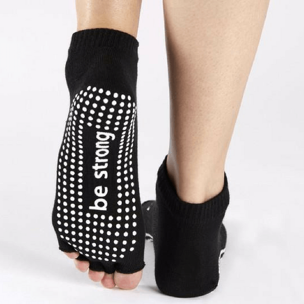 Half Toe Socks - Be Strong in Black (Barre / Pilates)