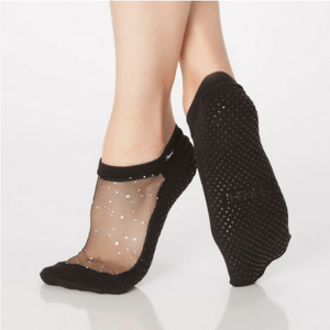 star grip shashi socks in black for barre and pilates