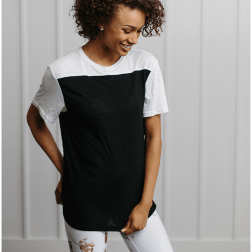 Colorblock Tee - White & Black