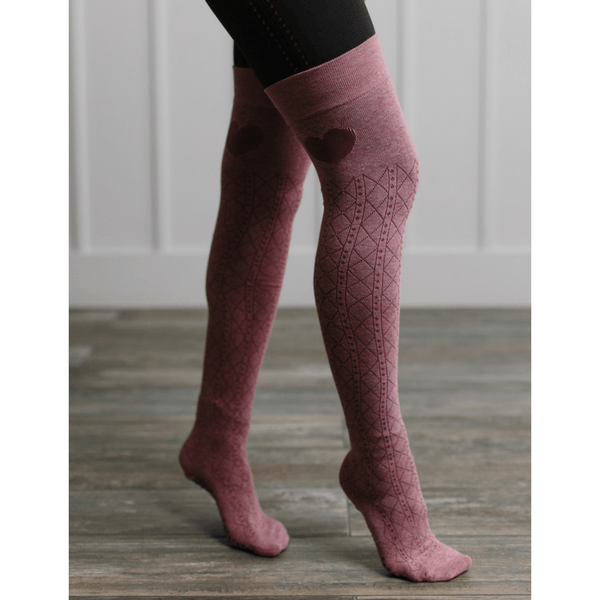 Colt Over the Knee High Grip Socks in Rose (Barre/Pilates)