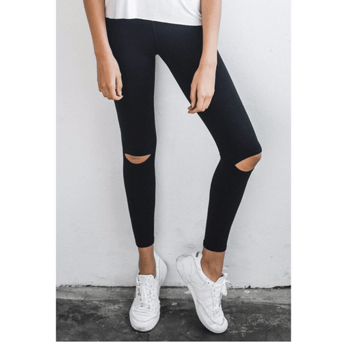 cut loose black workout leggings by joah brown
