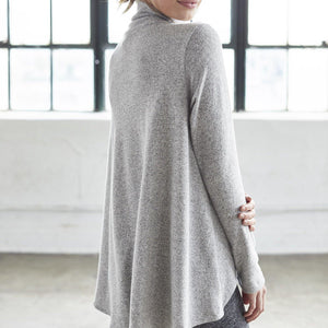 dyi mock turtleneck sweater heather gray