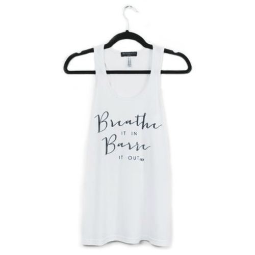 breathe it in barre it out tank top by edje active