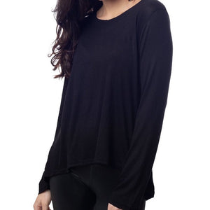 Emily Hsu Sunday Long Sleeve Top In Black