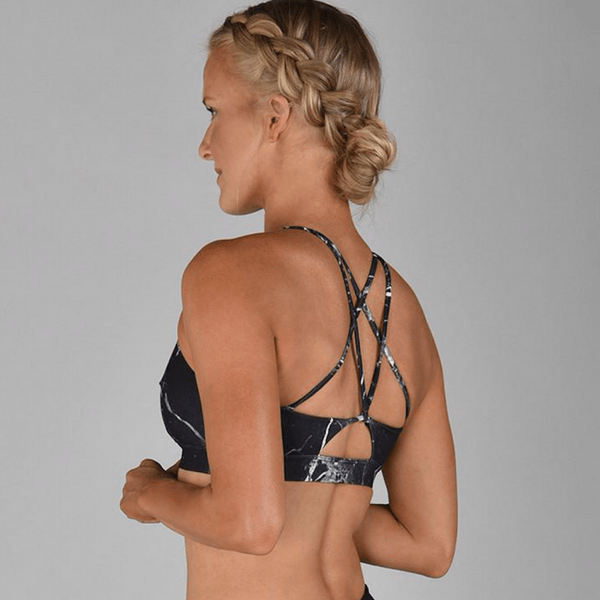 glyder apparel sports bra in fly high cracked onyx