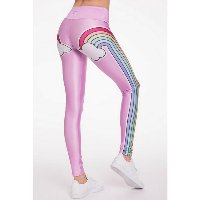 pink double rainbow leggings by goldsheep clothing