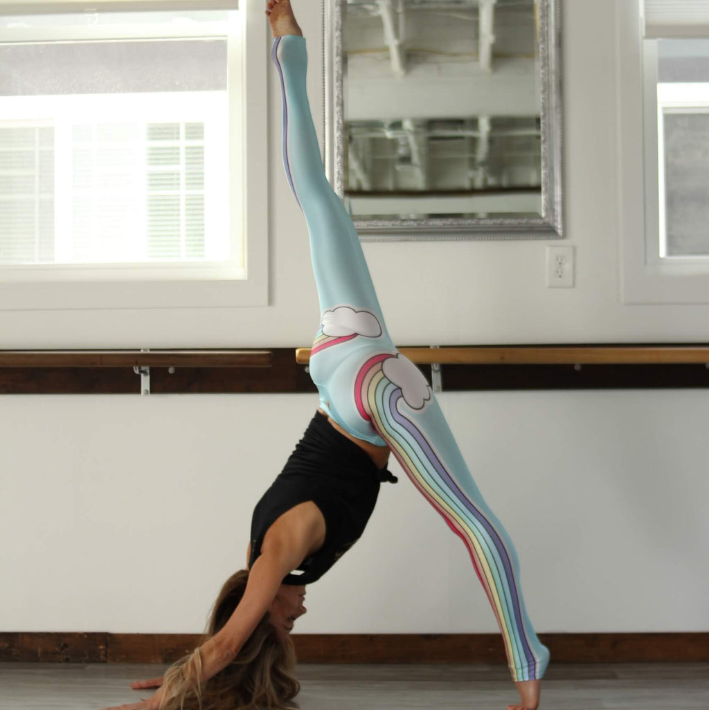 blue double rainbow workout legging by goldsheep apparel