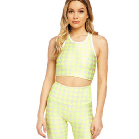 Goldsheep neon yellow houndstooth bra