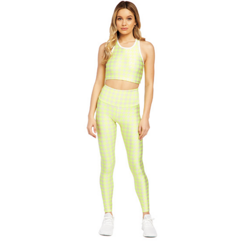 Goldsheep neon yellow houndstooth leggings