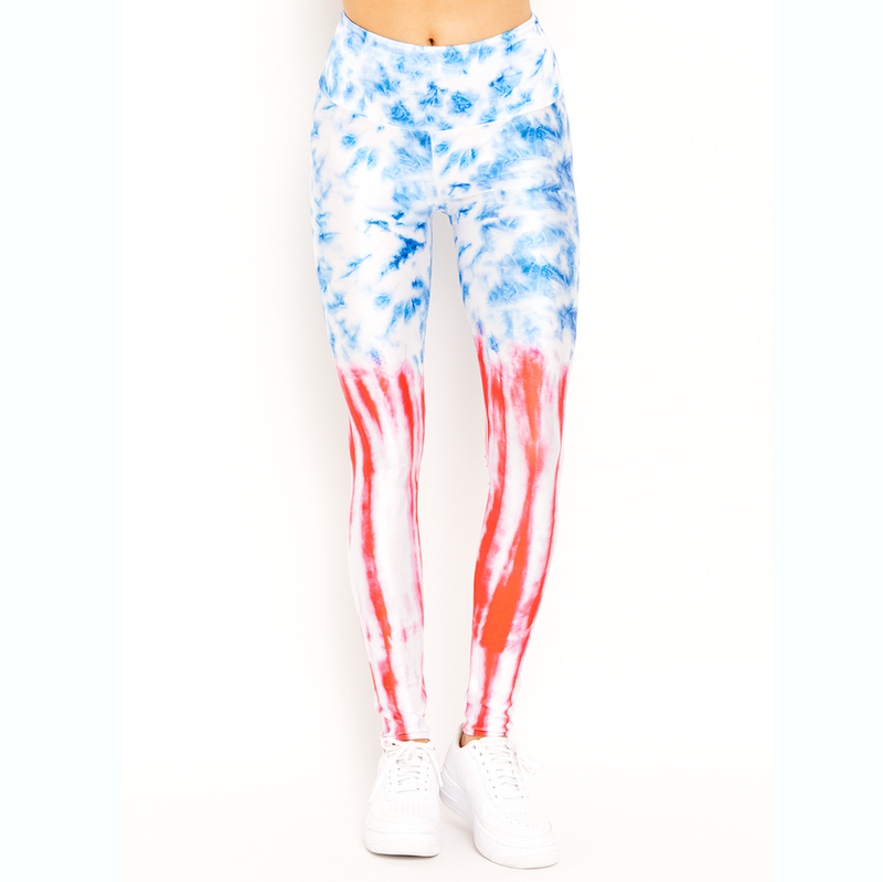 goldsheep USA tie dye july fourth print leggings