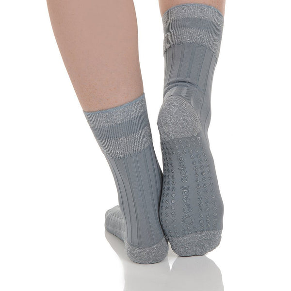 elle crew grip socks in grey silver by great soles