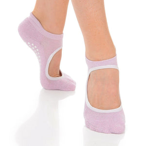 isabella pink and silver mary jane grip sock by great soles for barre pilates yoga
