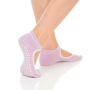 isabella pink and silver grip sock by great soles for barre pilates yoga
